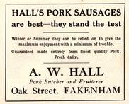 A. W. Hall, Pork Butcher & Fruiterer, Oak Street, Fakenham 1937